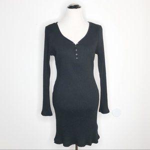TOPSHOP - Black Ribbed Midi Dress